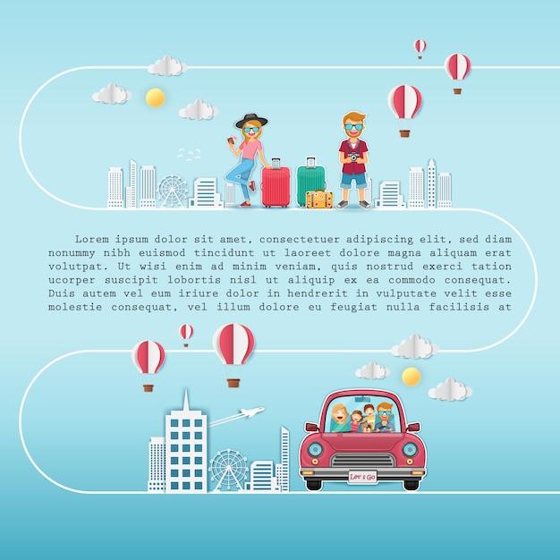 Feliz mulher e homem viajante no carro vermelho com check-in point Vetor Premium