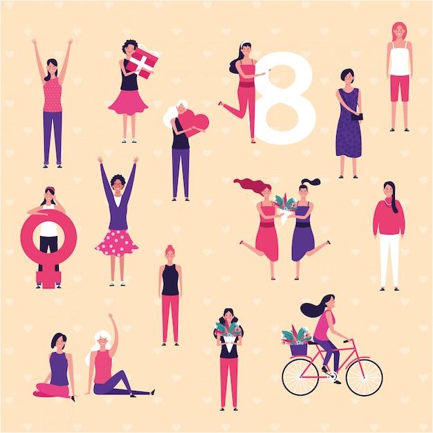 Feliz, mulheres, dia Vetor Premium