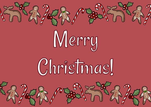 Feliz natal azevinho e gengibre biscoitos cartão postal Vetor Premium