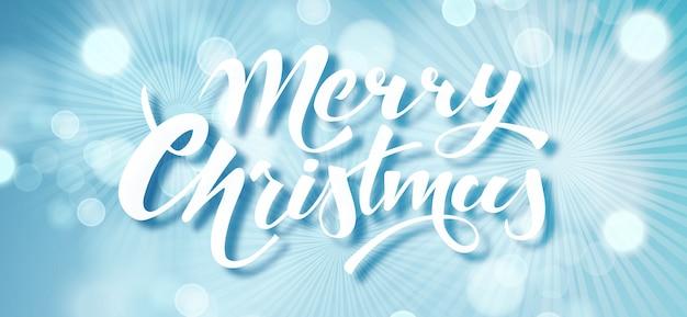 Feliz natal azul cartão de férias. Vetor Premium