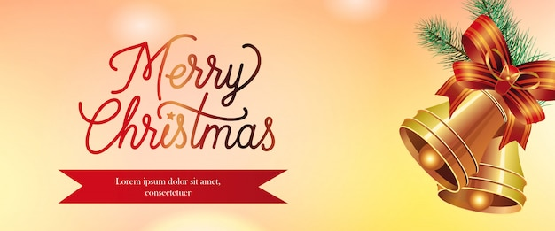 Feliz natal banner design. jingles de ouro Vetor grátis