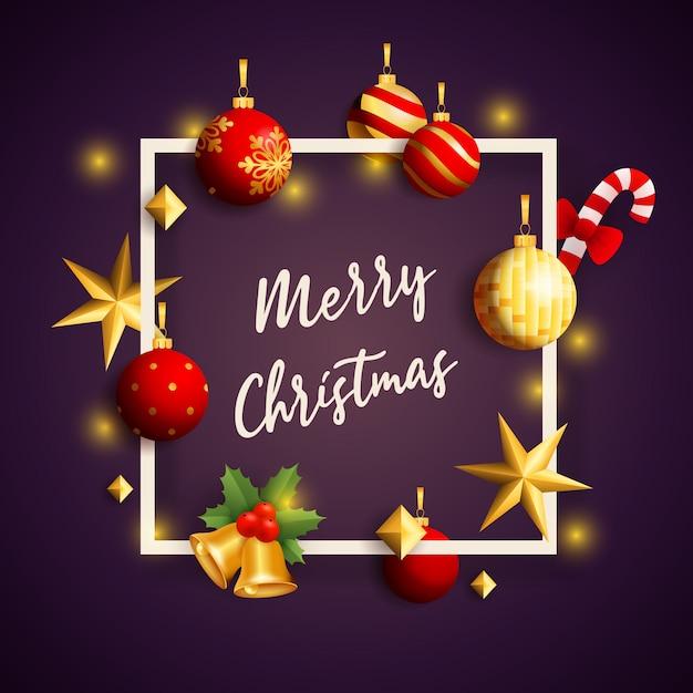 Feliz natal banner no quadro com decoração no chão violeta Vetor grátis