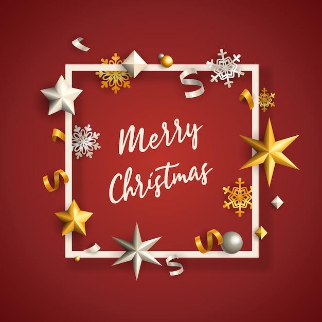 Feliz natal banner no quadro com estrelas no chão vermelho Vetor grátis
