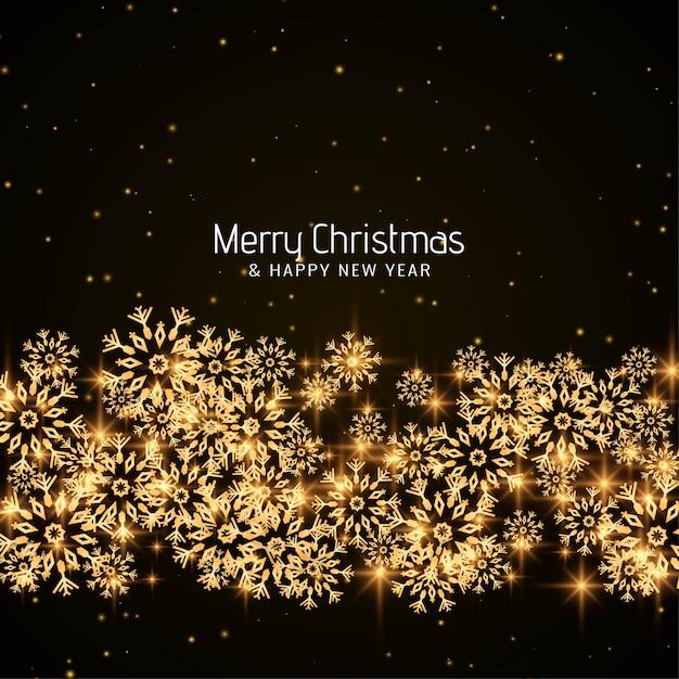 Feliz natal brilhante flocos de neve Vetor grátis