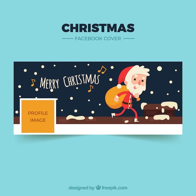 Feliz Natal Capa De Facebook Com Um Papai Noel Vetor Grátis