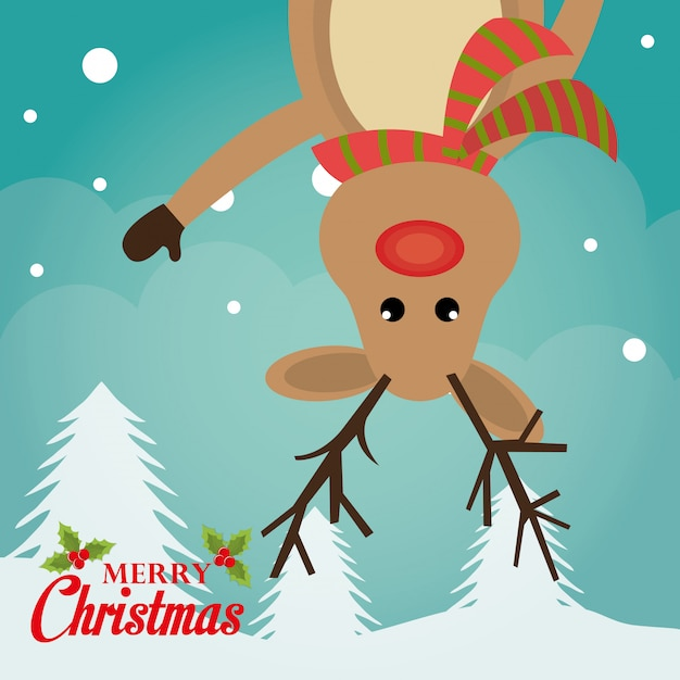 Feliz natal cartão colorido Vetor grátis