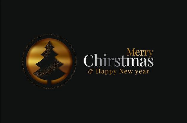 Feliz natal cartão com árvore de natal. origami. cortar o design de estilo de arte em papel Vetor Premium