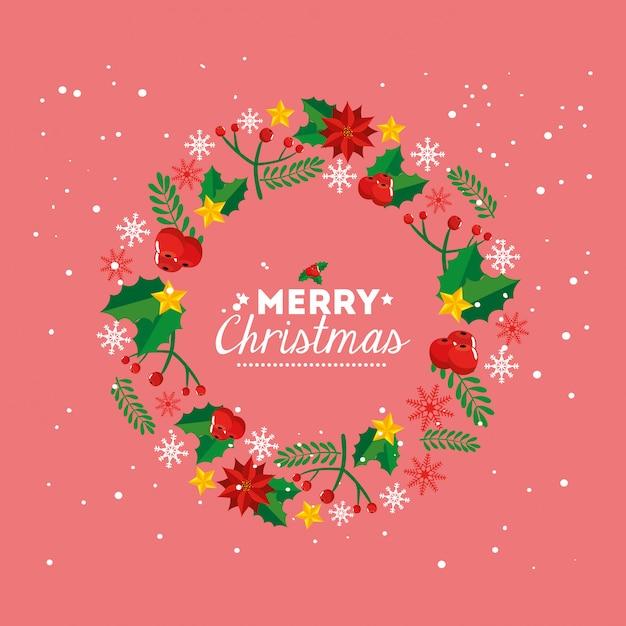 Feliz natal cartão com coroa de decoração Vetor grátis