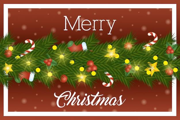 Feliz natal cartão com coroa de folhas e luzes Vetor grátis