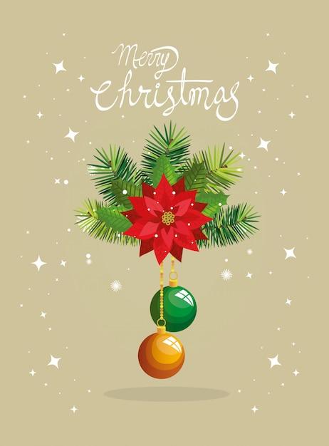 Feliz natal cartão com flor e bolas penduradas Vetor grátis