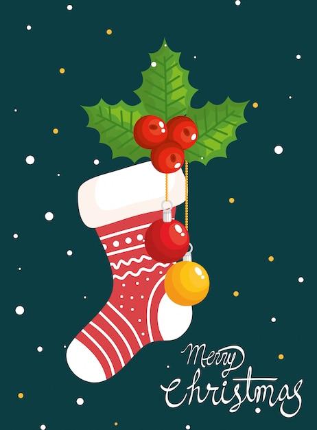 Feliz natal cartão com meia e decoração Vetor grátis