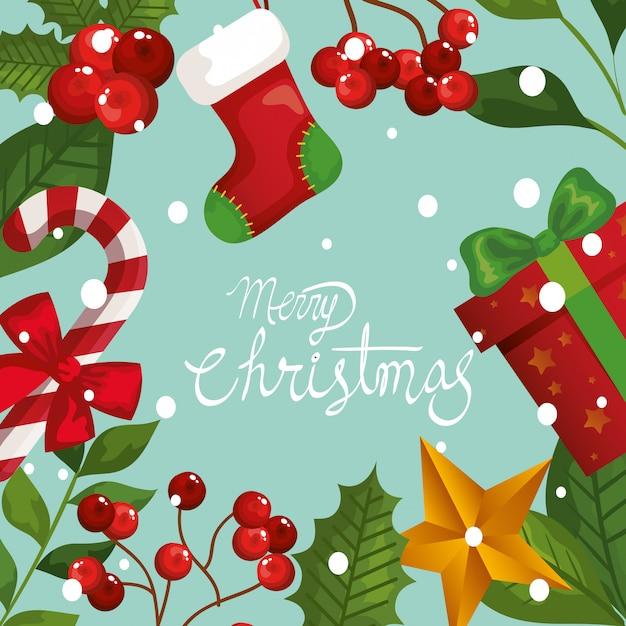 Feliz natal cartão com moldura de folhas e decoração Vetor grátis