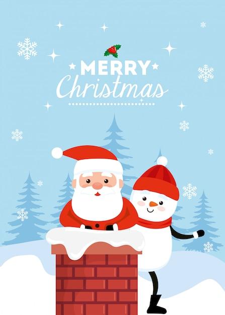 Feliz natal cartão com papai noel e boneco de neve na chaminé Vetor grátis
