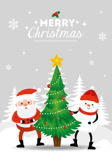 Feliz natal cartão com papai noel e boneco de neve na paisagem de inverno Vetor grátis