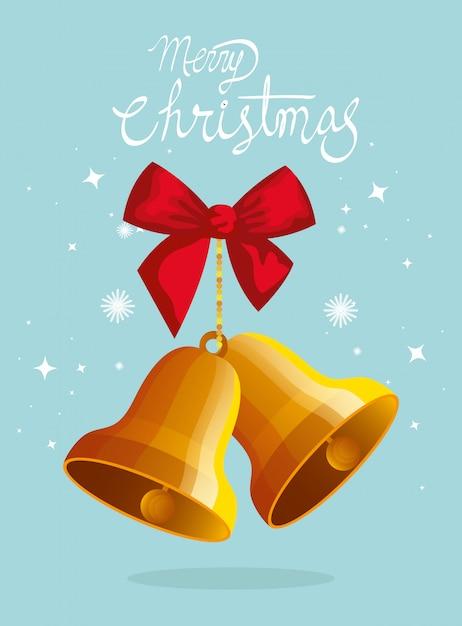 Feliz natal cartão com sinos e laço de fita Vetor grátis
