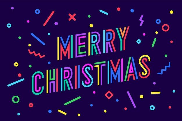 Feliz natal. cartão com texto feliz natal. Vetor Premium