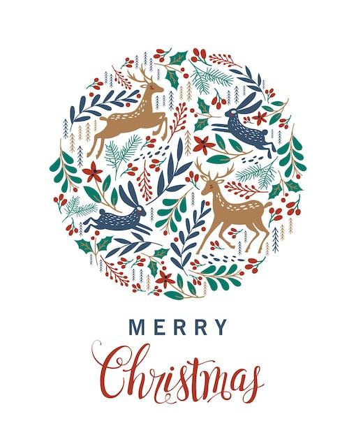 Feliz natal. cartão com veado de natal. Vetor Premium