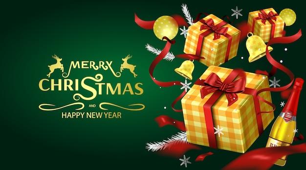 Feliz natal cartão e convites para festas fundo de luxo Vetor Premium