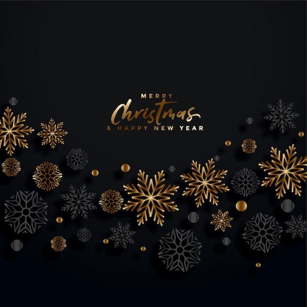 Feliz natal cartão festival preto e dourado Vetor grátis