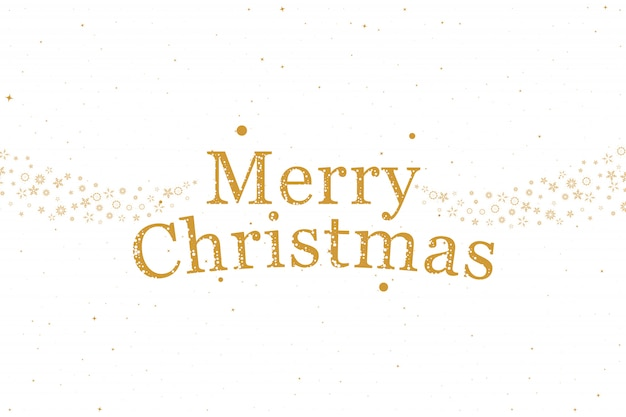 Feliz natal! cartão holiday com letras de fonte e flocos de neve decorativos Vetor Premium