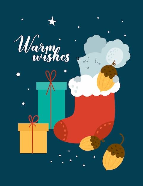 Feliz natal cartão. rato, rato, ratos, bebê com caixa de presente Vetor Premium
