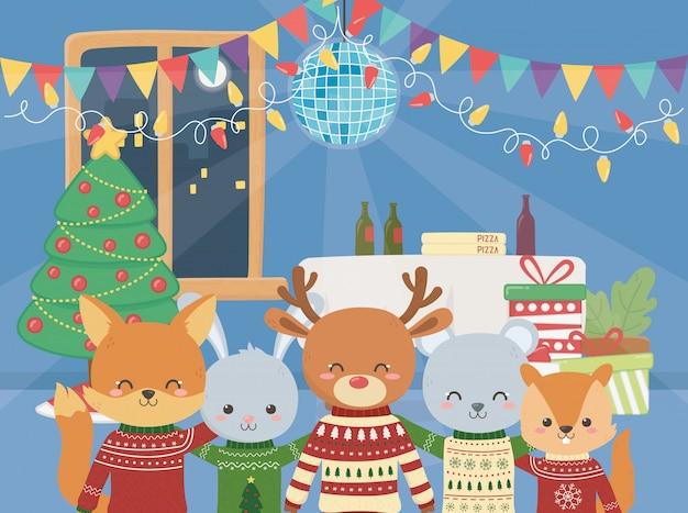 Feliz natal celebração animais fofos festa música comida árvore bola luzes Vetor Premium
