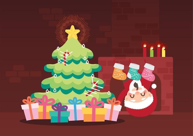 Feliz natal celebração fundo vector Vetor Premium