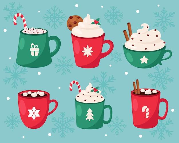Feliz natal. coleção de bebidas quentes de natal. Vetor Premium