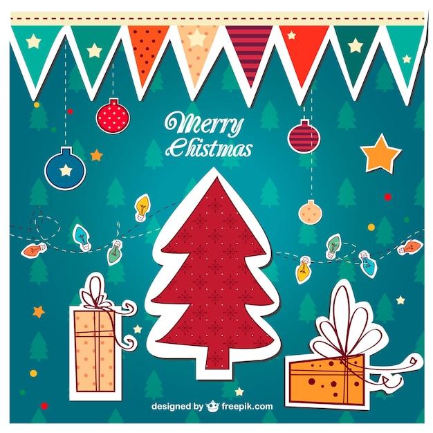Feliz natal colorido do vintage vector Vetor grátis