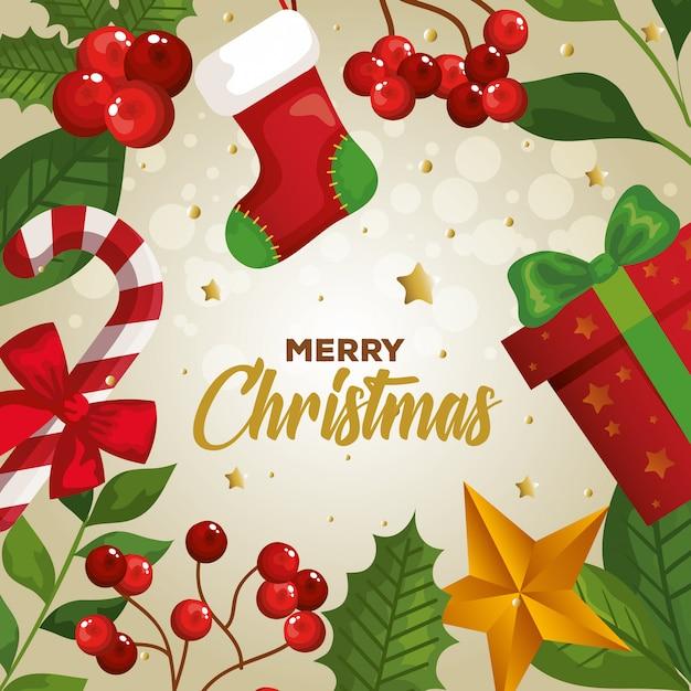 Feliz natal com cartão de decoração Vetor grátis