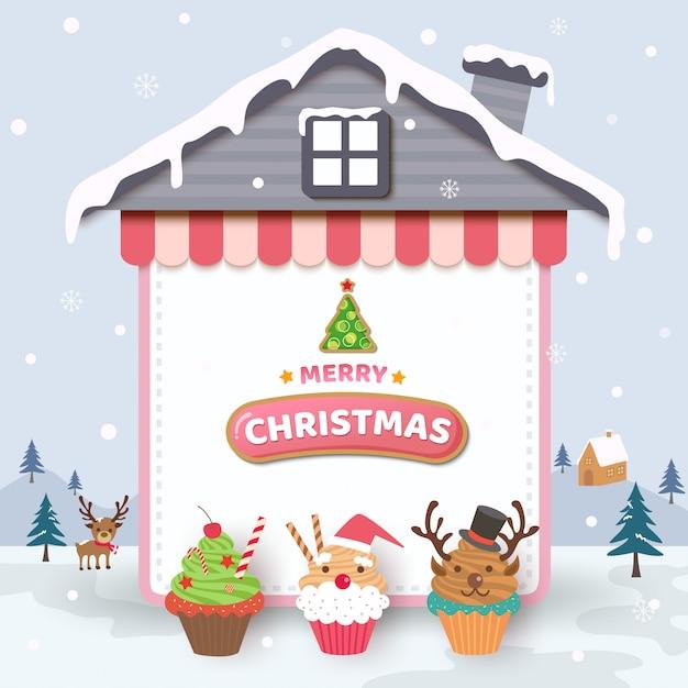 Feliz natal com cupcakes no quadro de casa e fundo de neve. Vetor Premium