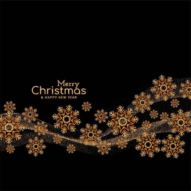 Feliz natal com flocos de neve e brilhos Vetor grátis