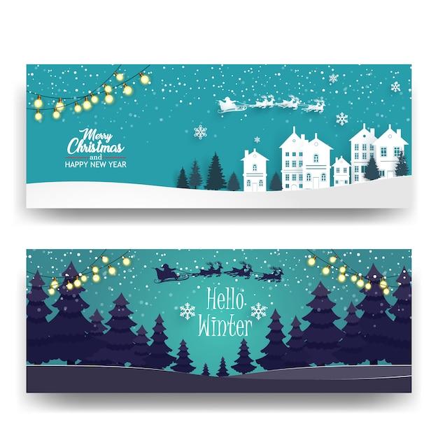 Feliz natal com fundo de floresta e casas Vetor Premium