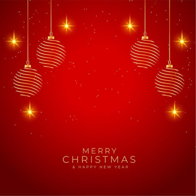 Feliz natal com fundo vermelho e dourado brilhante Vetor grátis