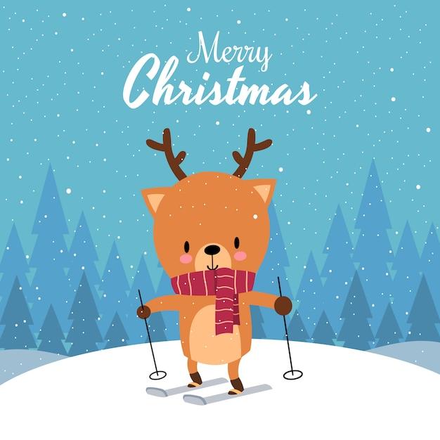 Feliz natal com giro kawaii mão desenhada veado com lenço vermelho esqui Vetor Premium