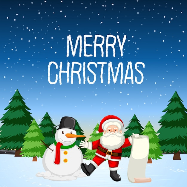 Feliz natal com papai noel e boneco de neve Vetor Premium