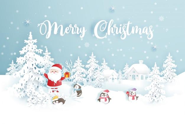Feliz natal com papai noel e pinguins em uma floresta de neve Vetor Premium