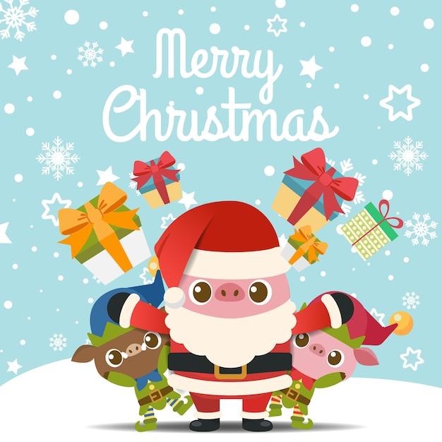 Feliz natal com porcos em papai noel e fantasia de elfo. Vetor Premium