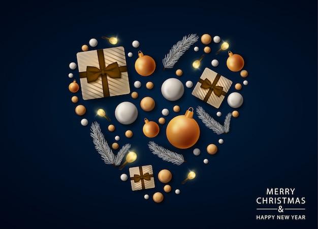 Feliz natal coração cartão com decorações realistas, bolas e presentes Vetor Premium