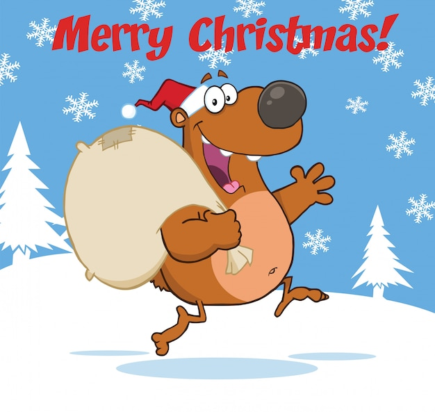 Feliz natal cumprimentando com urso de papai noel correndo com saco e acenando Vetor Premium