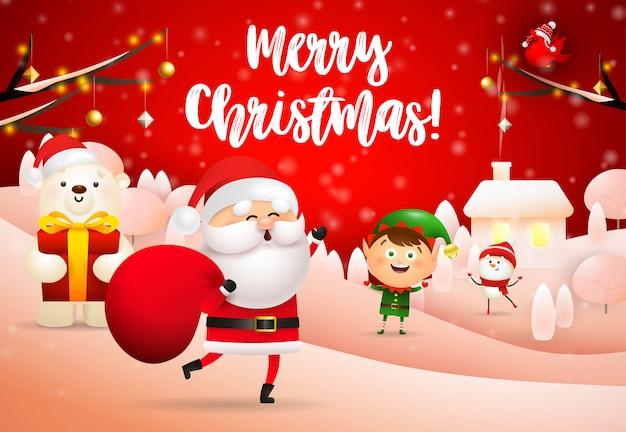 Feliz natal design de papai noel com saco de presente Vetor grátis