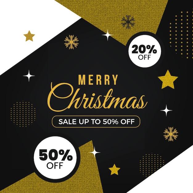 Feliz natal dourado com vinte por cento de desconto Vetor grátis