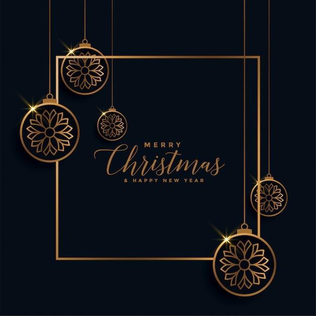 Feliz natal dourado e preto festival cartão Vetor grátis