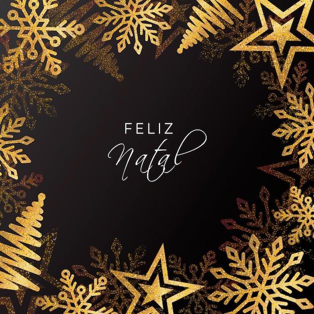 Feliz natal dourado realista Vetor Premium