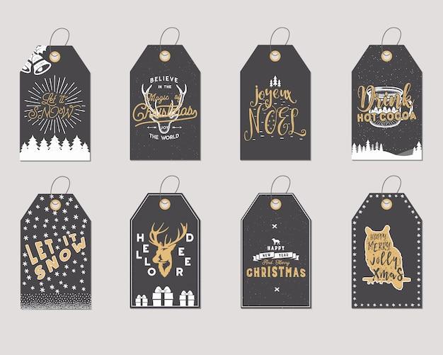 Feliz natal e ano novo presente coleção de etiquetas. Vetor Premium