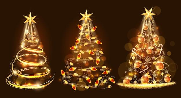 Feliz natal e árvore de natal dourada feita com decoração Vetor Premium