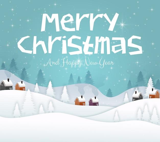 Feliz natal e feliz ano novo 2019 no fundo do céu azul Vetor Premium