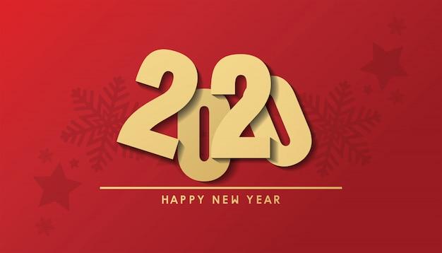 Feliz natal e feliz ano novo 2020 banner Vetor Premium