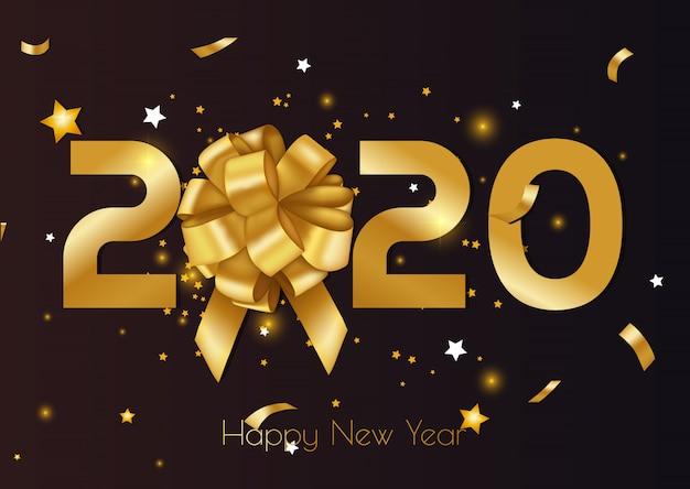 Feliz natal e feliz ano novo 2020 cartão e cartaz com estrelas. Vetor Premium