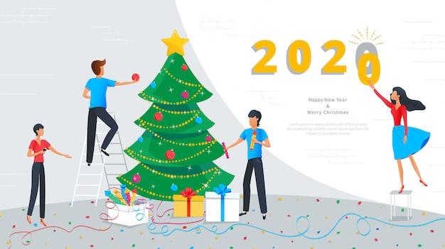 Feliz Natal E Feliz Ano Novo 2020 Cartão Vetor Premium